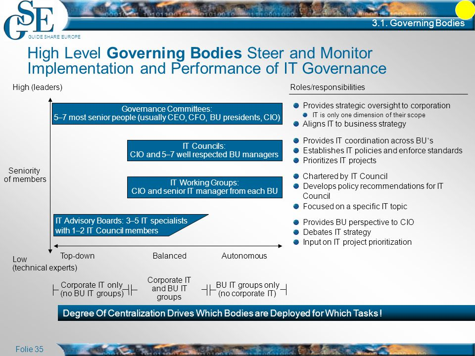 3.1. Governing Bodies High Level Governing Bodies Steer and Monitor Implementation and Performance of IT Governance.