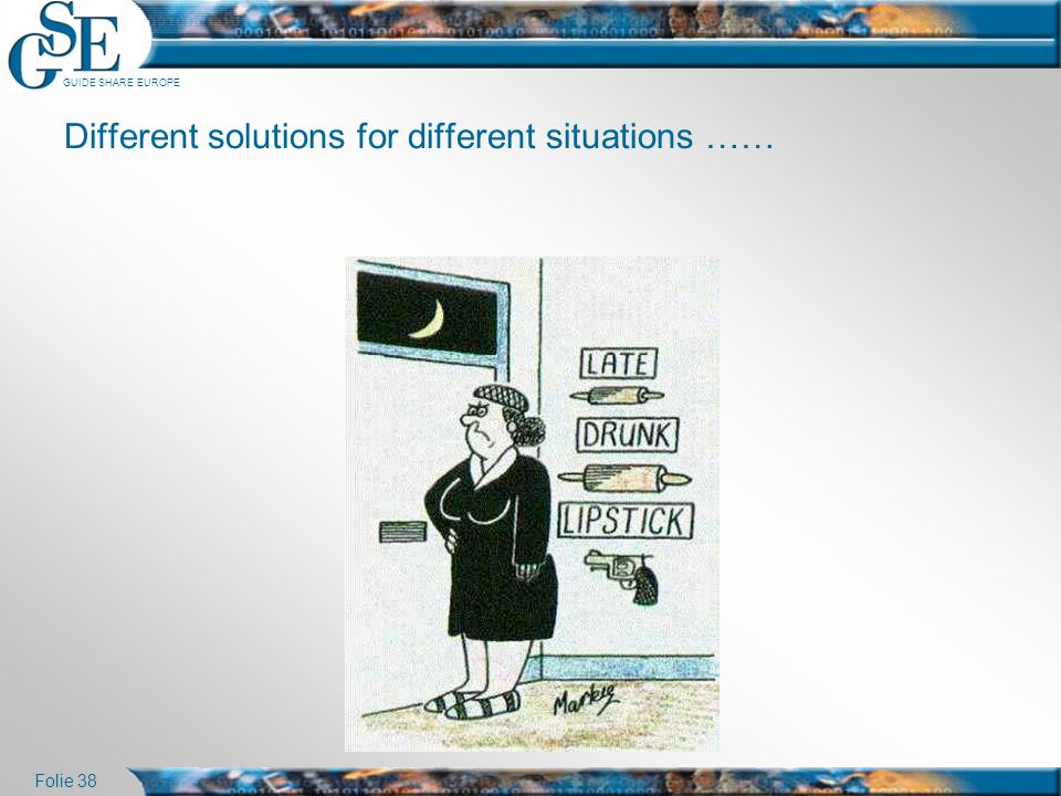 Different solutions for different situations ……