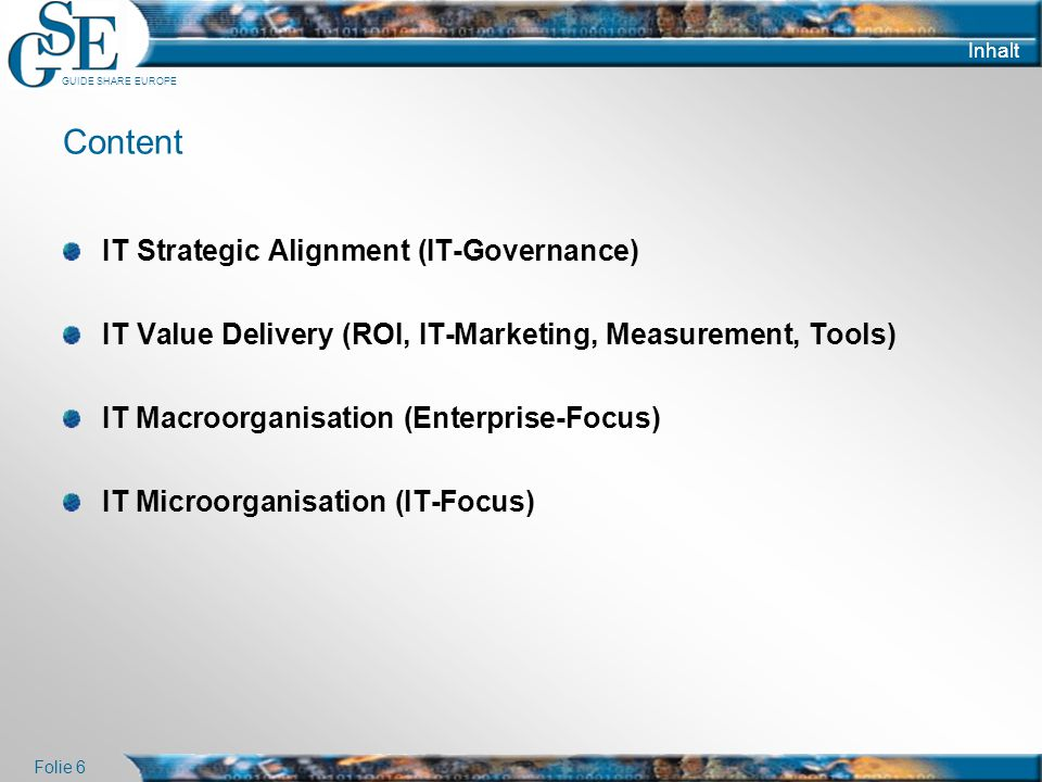Content IT Strategic Alignment (IT-Governance)