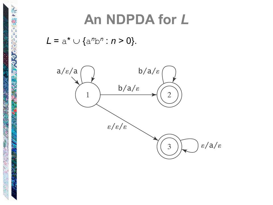 An NDPDA for L L = a*  {anbn : n > 0}.