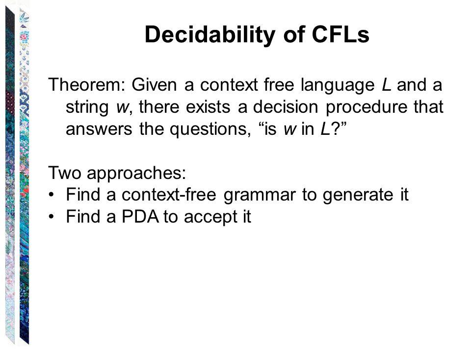 Decidability of CFLs