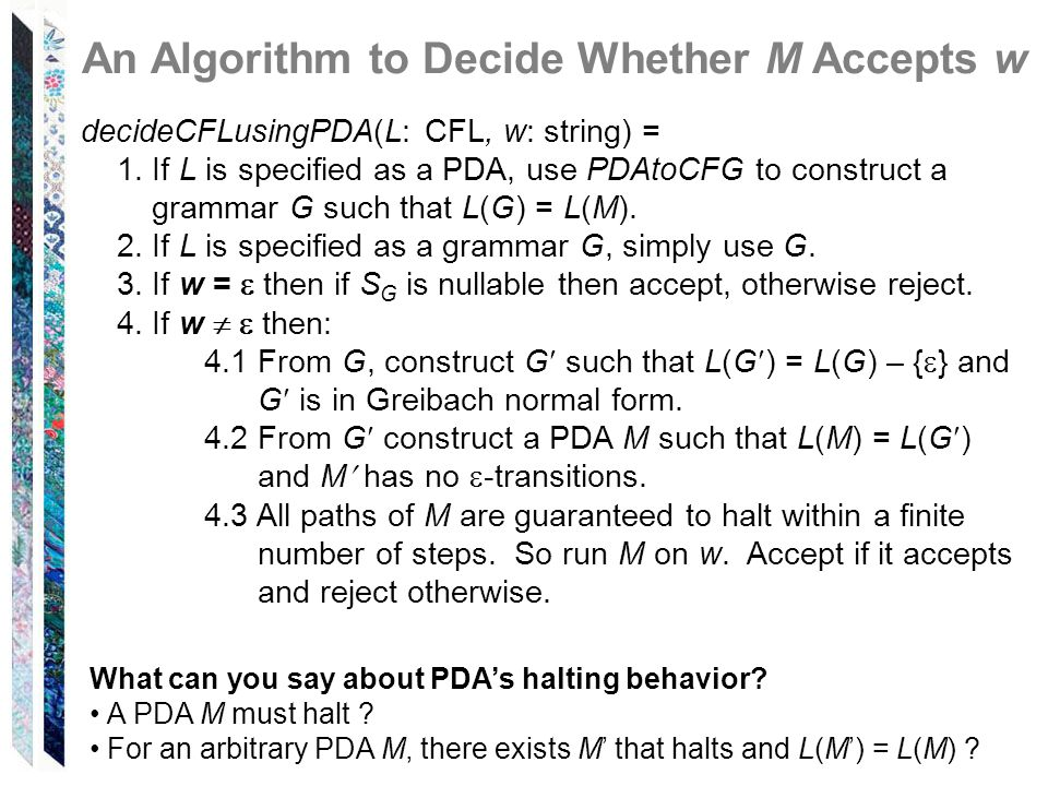 An Algorithm to Decide Whether M Accepts w