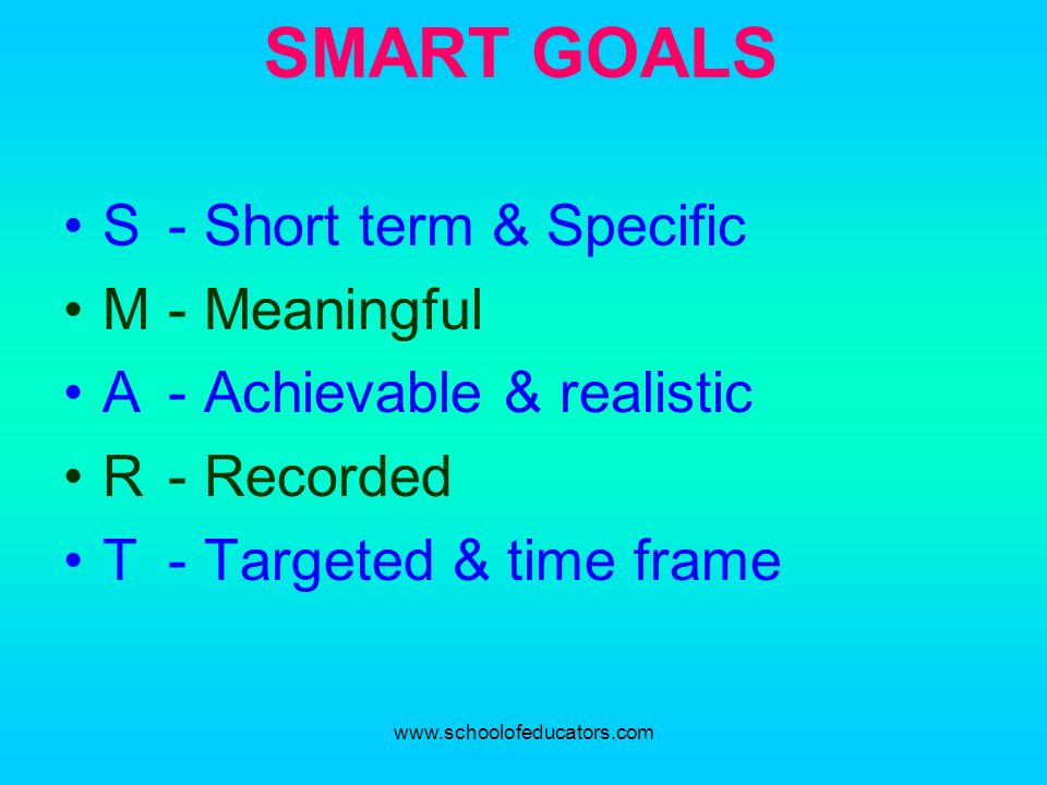 SMART GOALS S - Short term & Specific M - Meaningful