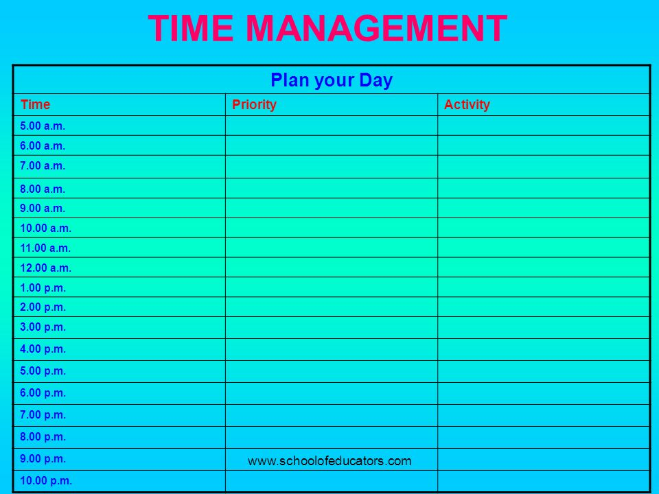 TIME MANAGEMENT Plan your Day Time Priority Activity