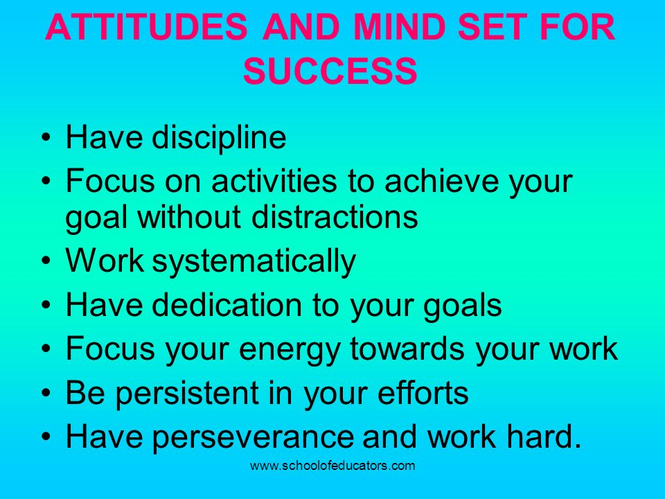 ATTITUDES AND MIND SET FOR SUCCESS