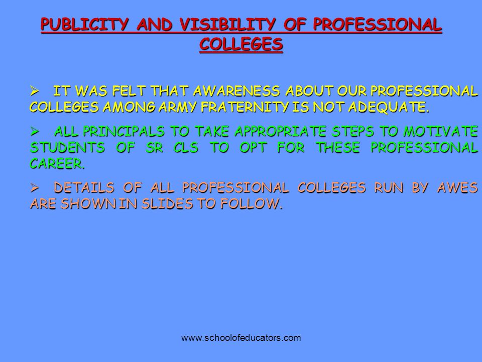 PUBLICITY AND VISIBILITY OF PROFESSIONAL COLLEGES