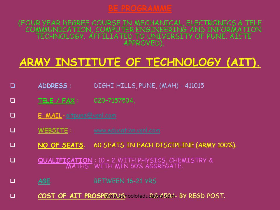 ARMY INSTITUTE OF TECHNOLOGY (AIT).
