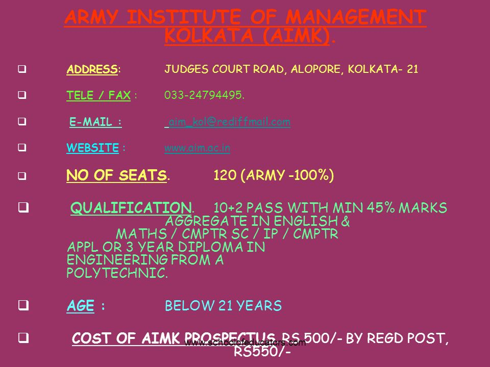 ARMY INSTITUTE OF MANAGEMENT KOLKATA (AIMK).