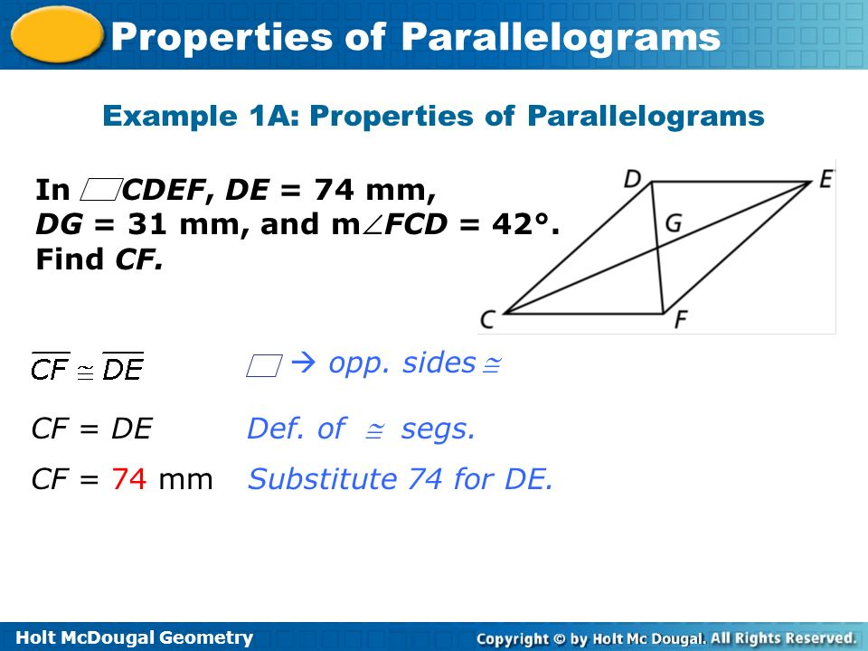 Example 1A: Properties of Parallelograms