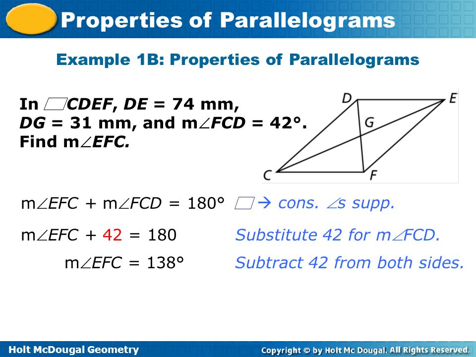 Example 1B: Properties of Parallelograms