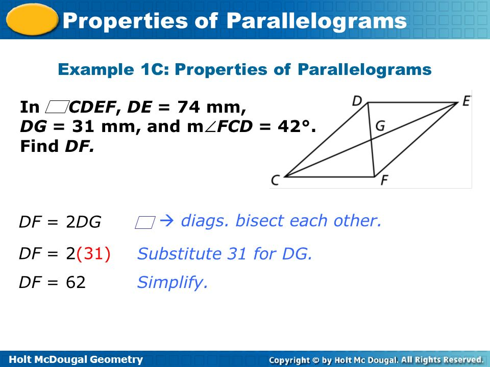 Example 1C: Properties of Parallelograms