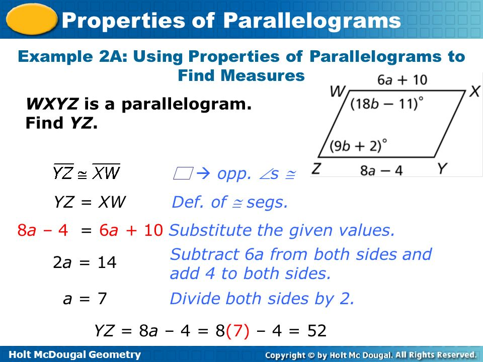 Example 2A: Using Properties of Parallelograms to Find Measures