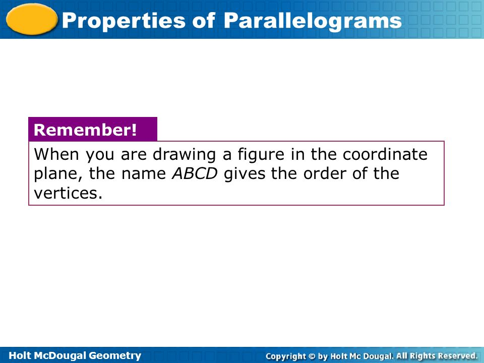 When you are drawing a figure in the coordinate plane, the name ABCD gives the order of the vertices.
