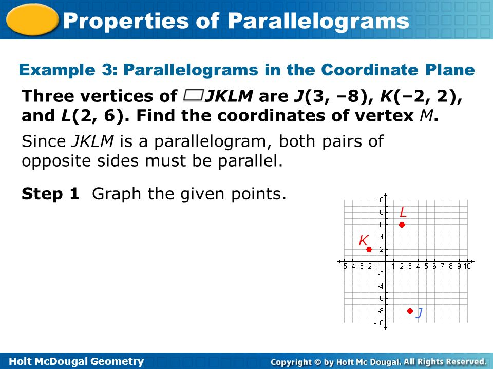 Example 3: Parallelograms in the Coordinate Plane