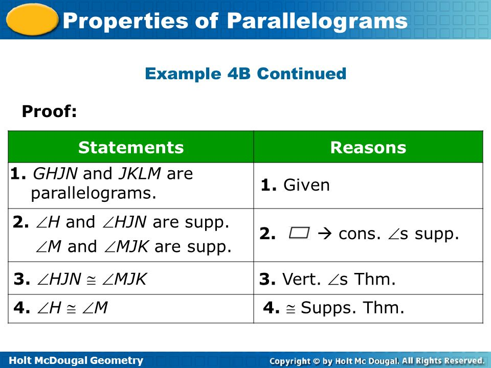 Example 4B Continued Proof: Statements. Reasons. 1. GHJN and JKLM are. parallelograms. 1. Given.