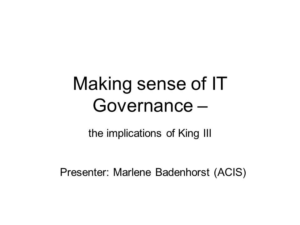 Making sense of IT Governance –