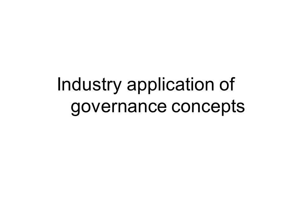 Industry application of governance concepts