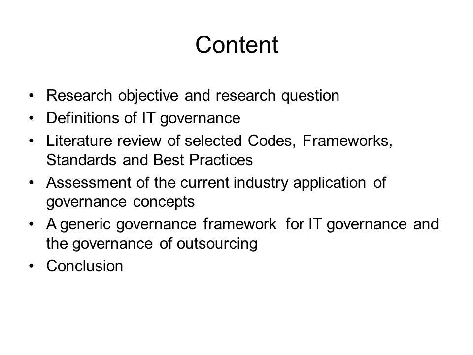 Content Research objective and research question
