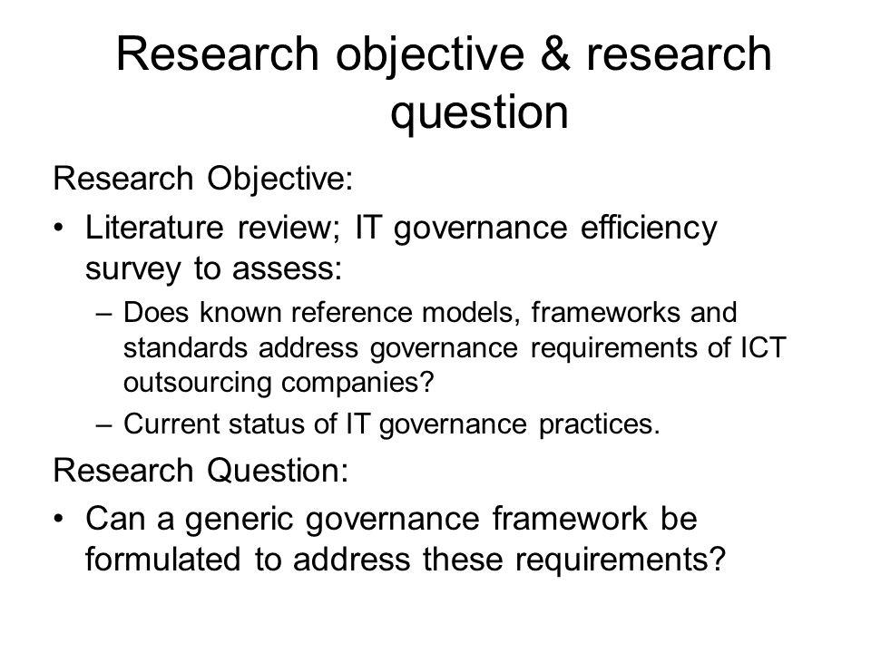 Research objective & research question