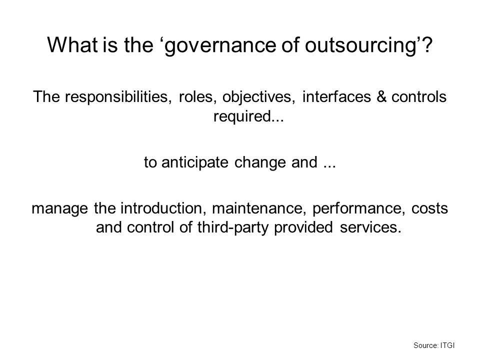 What is the 'governance of outsourcing'
