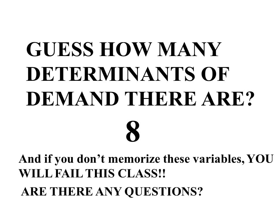 8 GUESS HOW MANY DETERMINANTS OF DEMAND THERE ARE