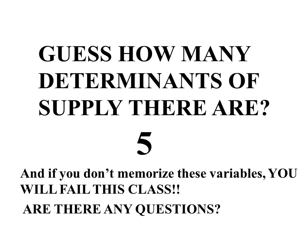 5 GUESS HOW MANY DETERMINANTS OF SUPPLY THERE ARE
