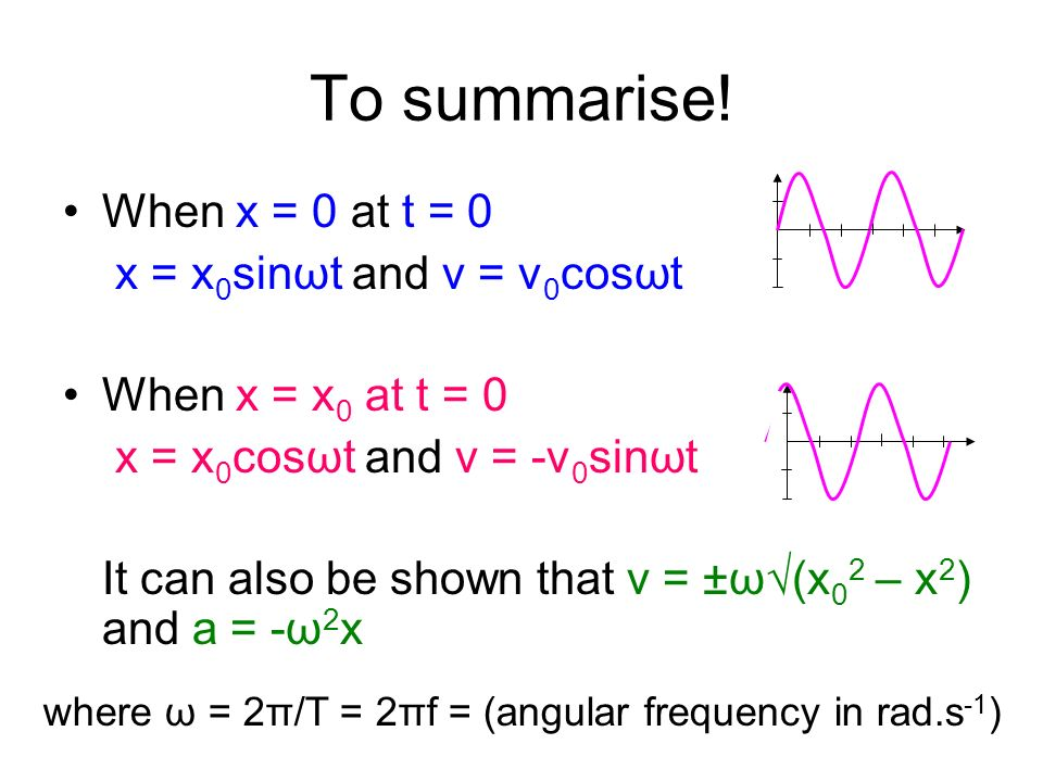 To summarise! When x = 0 at t = 0 x = x0sinωt and v = v0cosωt