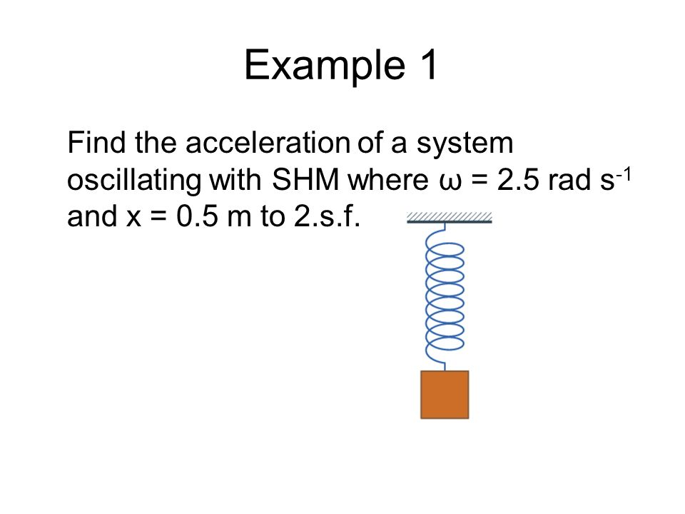 Example 1 Find the acceleration of a system oscillating with SHM where ω = 2.5 rad s-1 and x = 0.5 m to 2.s.f.