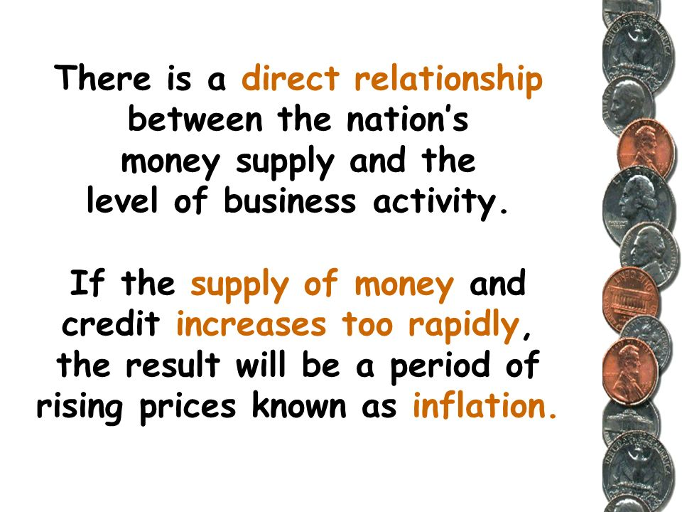 There is a direct relationship between the nation's money supply and the level of business activity.