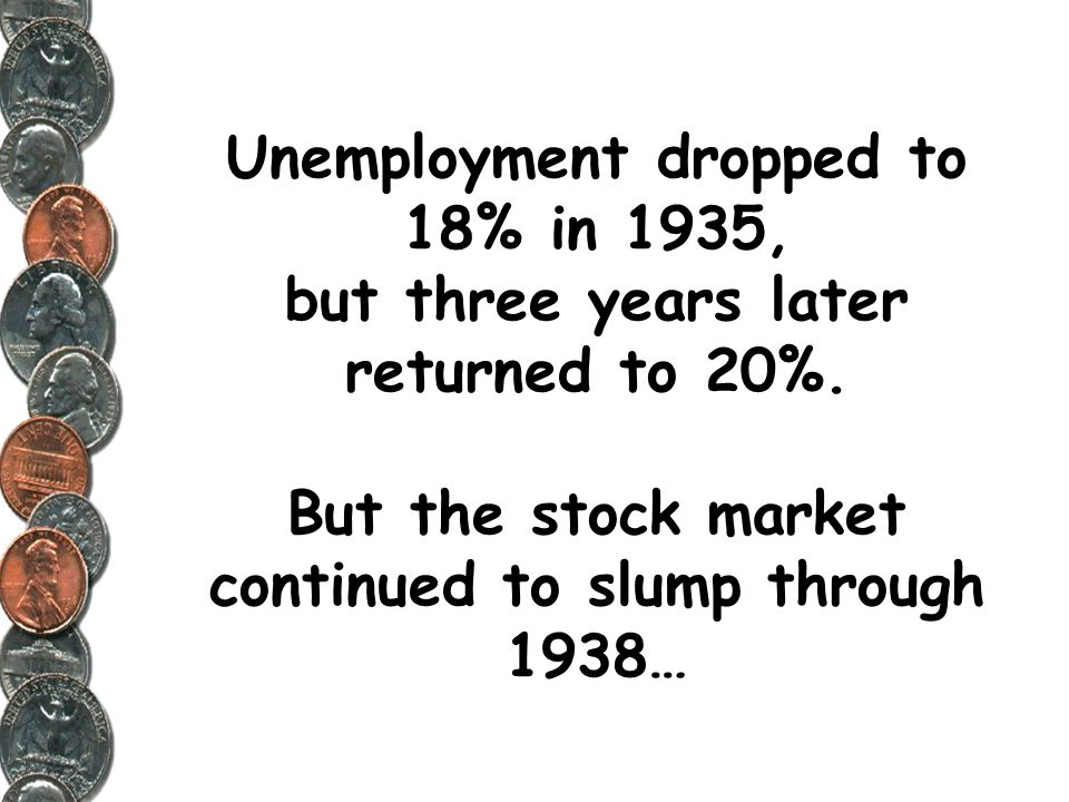 Unemployment dropped to 18% in 1935, but three years later returned to 20%.