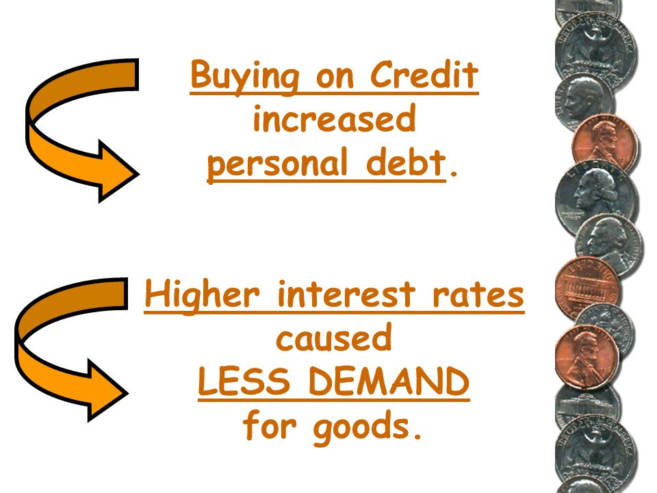 Buying on Credit increased personal debt