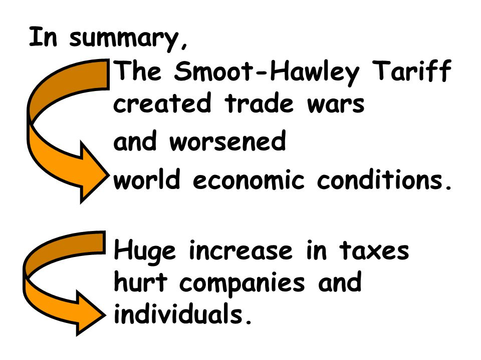 In summary, The Smoot-Hawley Tariff created trade wars. and worsened. world economic conditions.