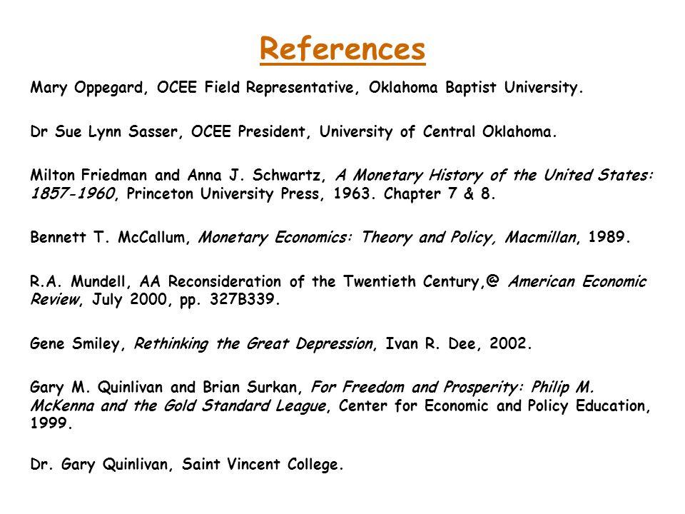 References Mary Oppegard, OCEE Field Representative, Oklahoma Baptist University.