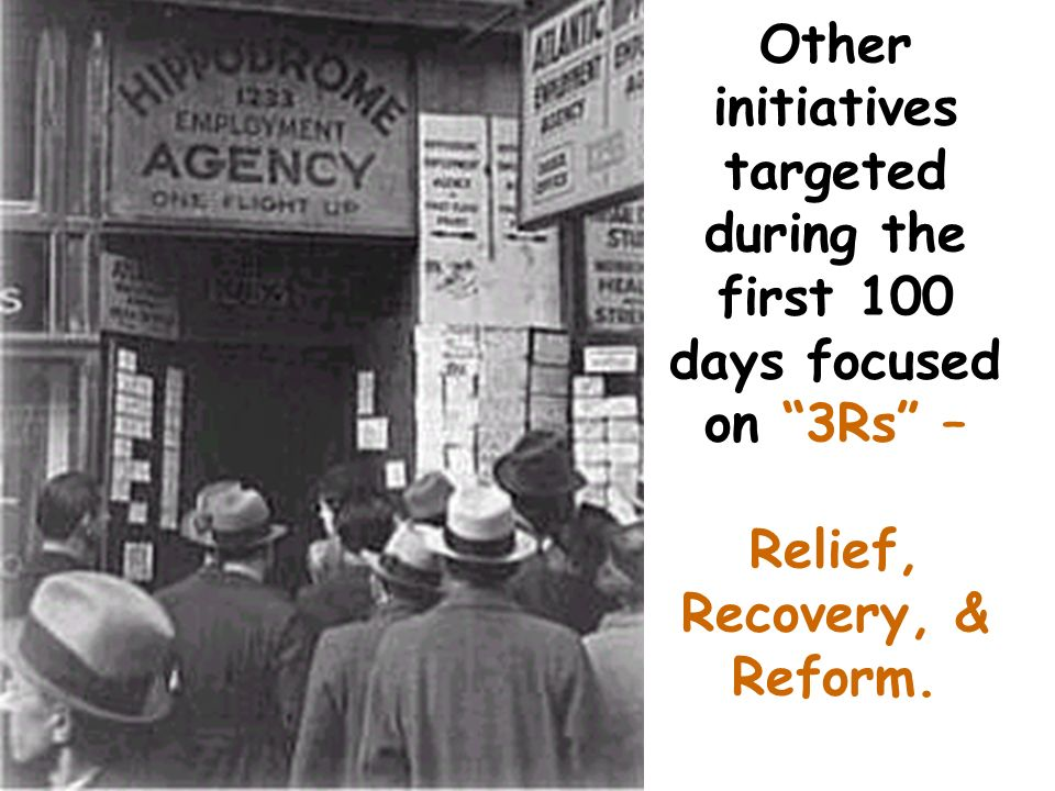 Other initiatives targeted during the first 100 days focused on 3Rs – Relief, Recovery, & Reform.