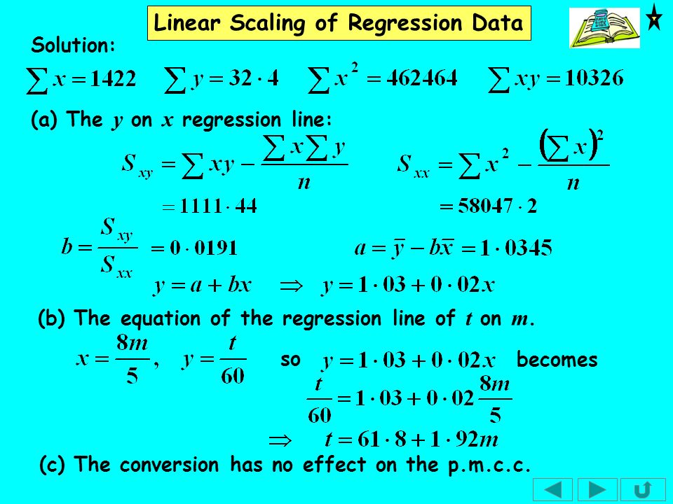 Solution: (a) The y on x regression line: (b) The equation of the regression line of t on m. becomes.