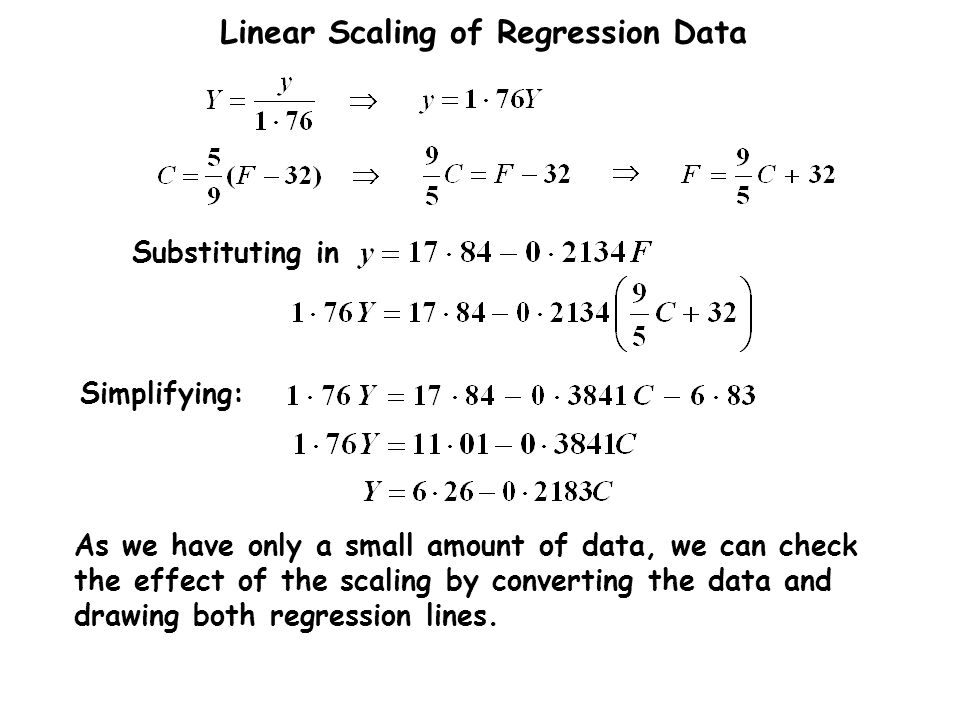 As we have only a small amount of data, we can check the effect of the scaling by converting the data and drawing both regression lines.