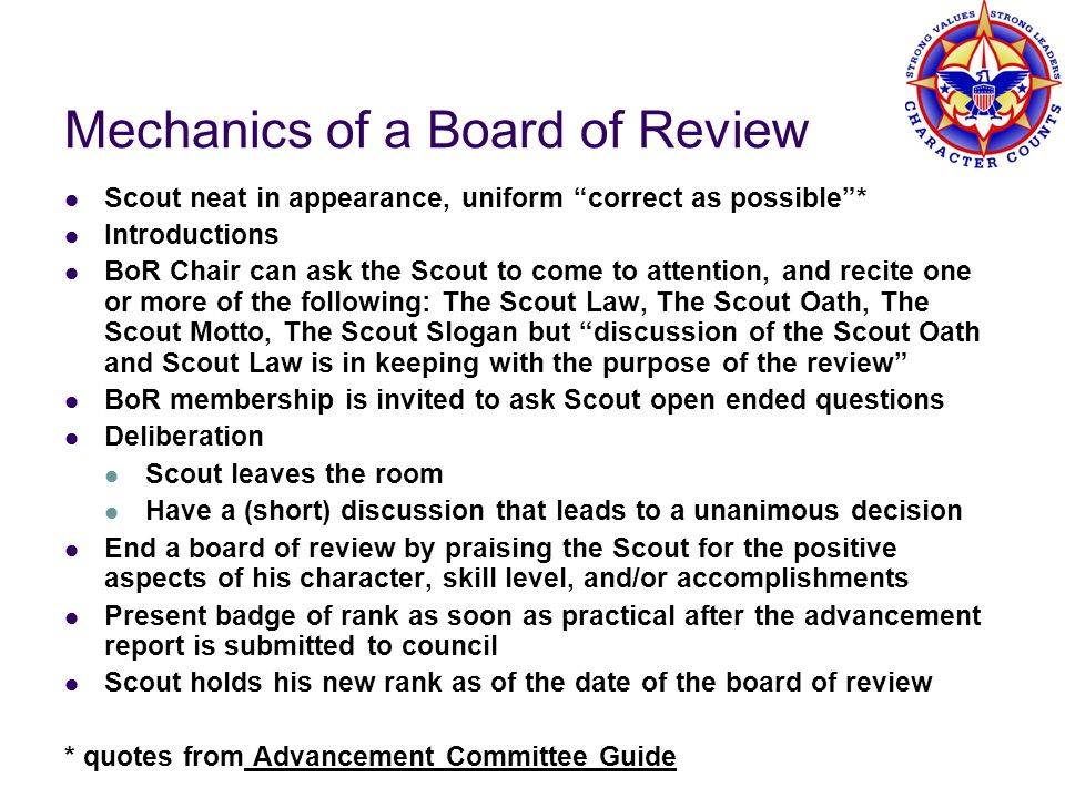 Mechanics of a Board of Review