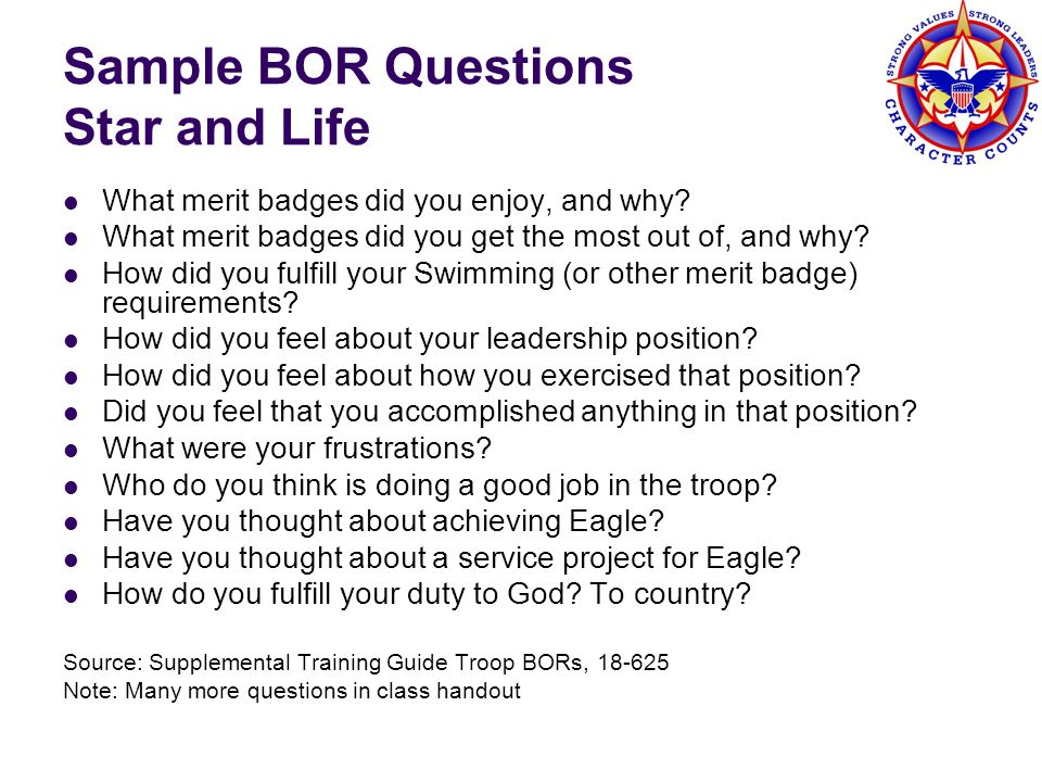 Sample BOR Questions Star and Life