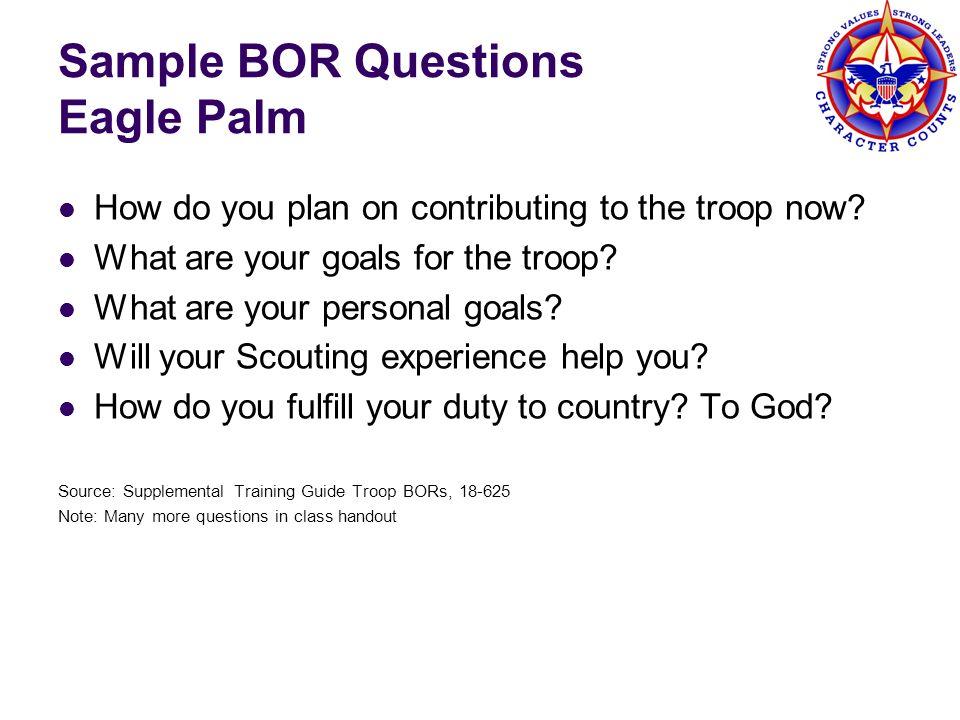 Sample BOR Questions Eagle Palm