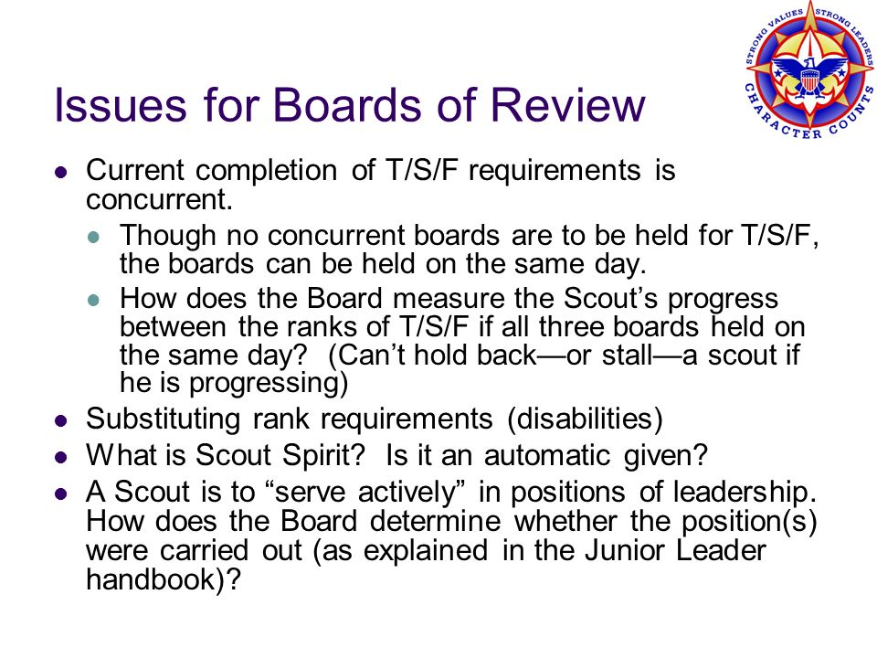 Issues for Boards of Review