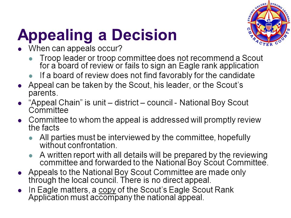 Appealing a Decision When can appeals occur