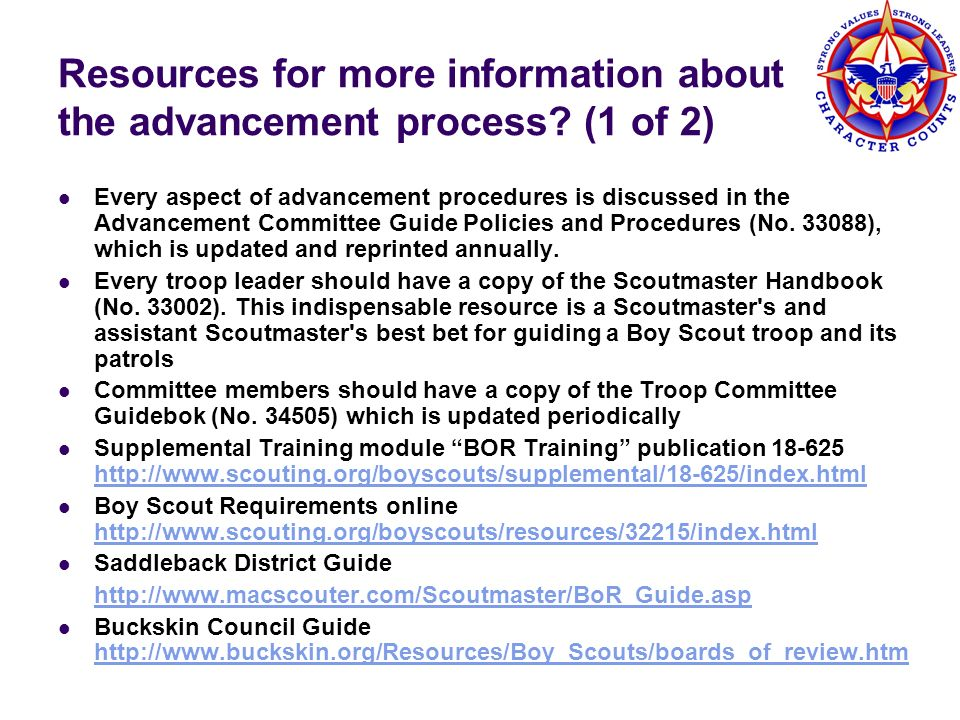 Resources for more information about the advancement process (1 of 2)