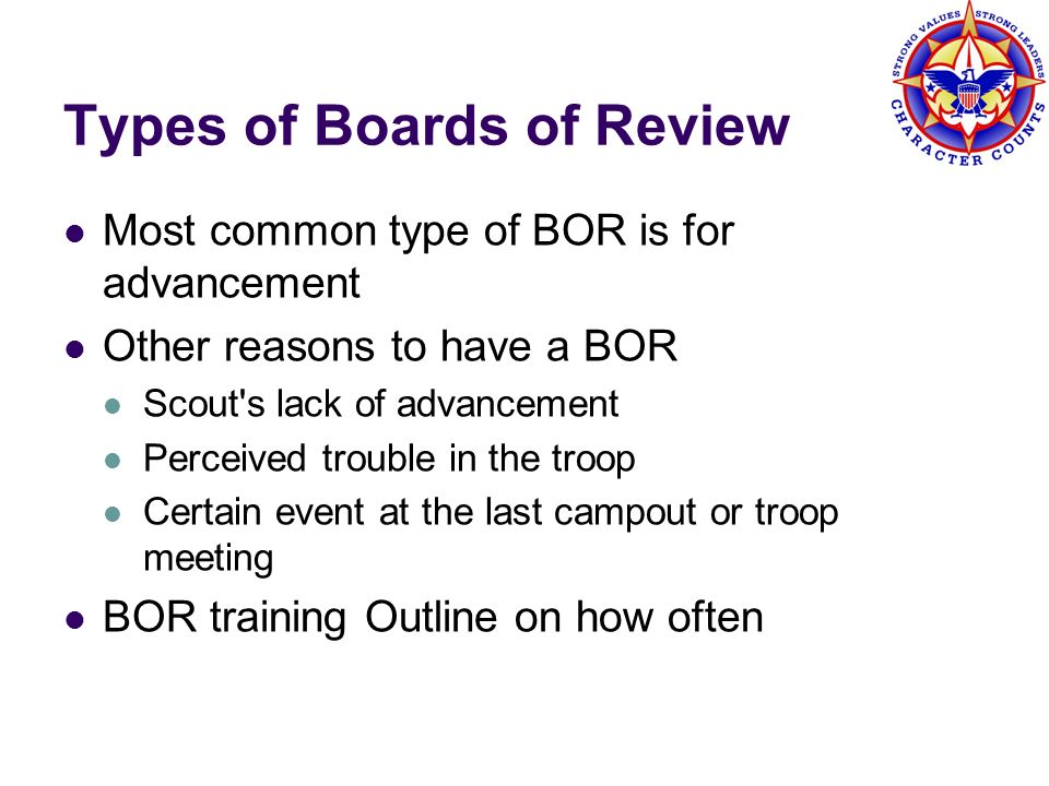 Types of Boards of Review