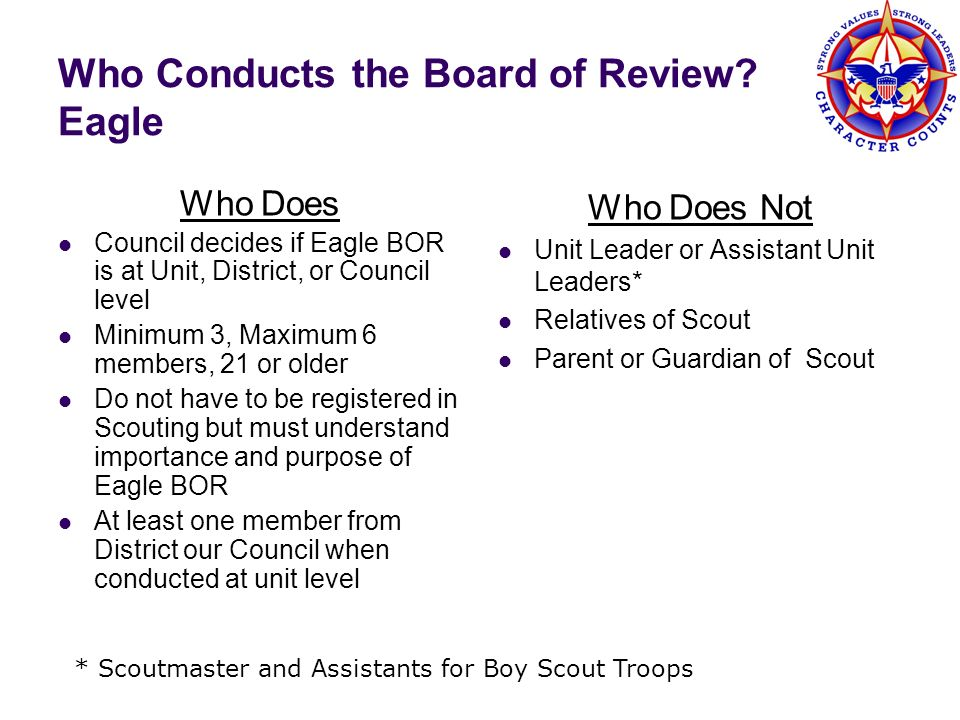 Who Conducts the Board of Review Eagle