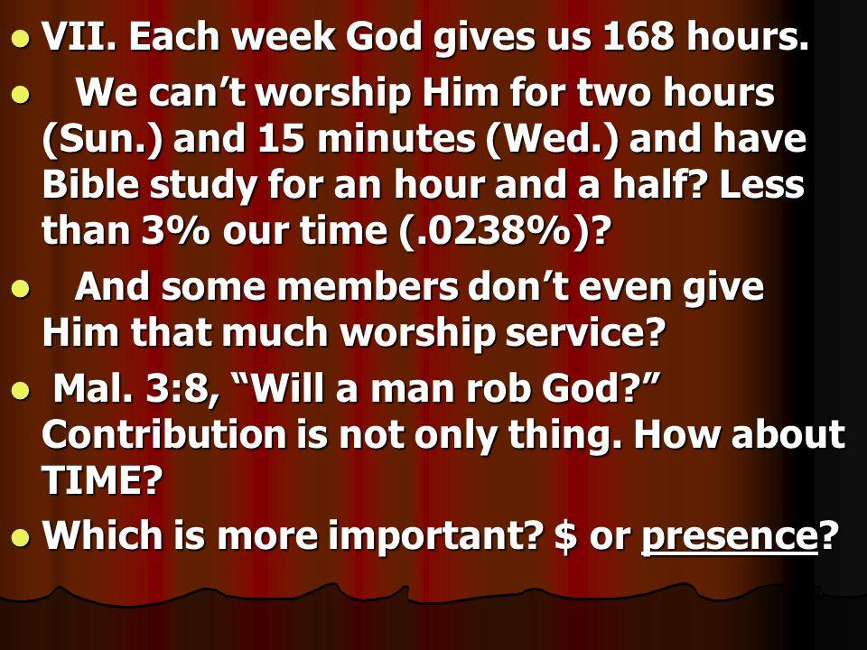 VII. Each week God gives us 168 hours.