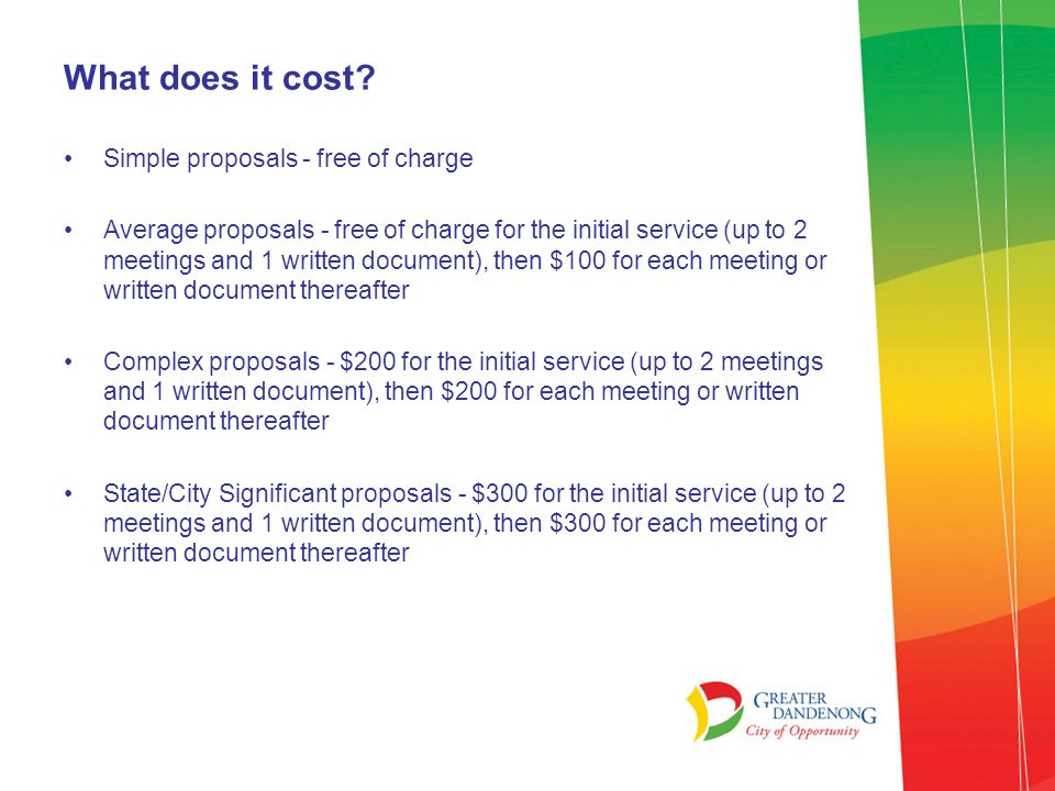 What does it cost Simple proposals - free of charge