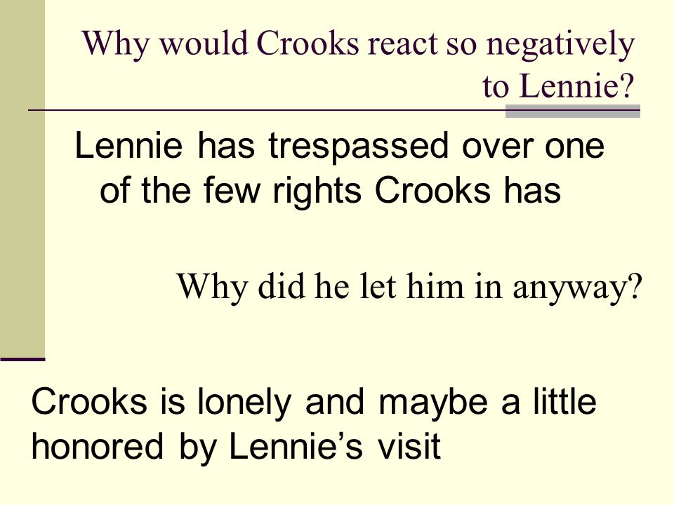 Why would Crooks react so negatively to Lennie