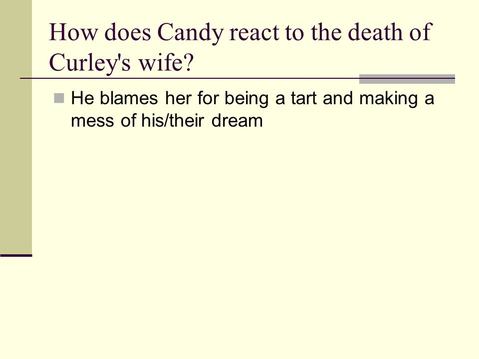 How does Candy react to the death of Curley s wife