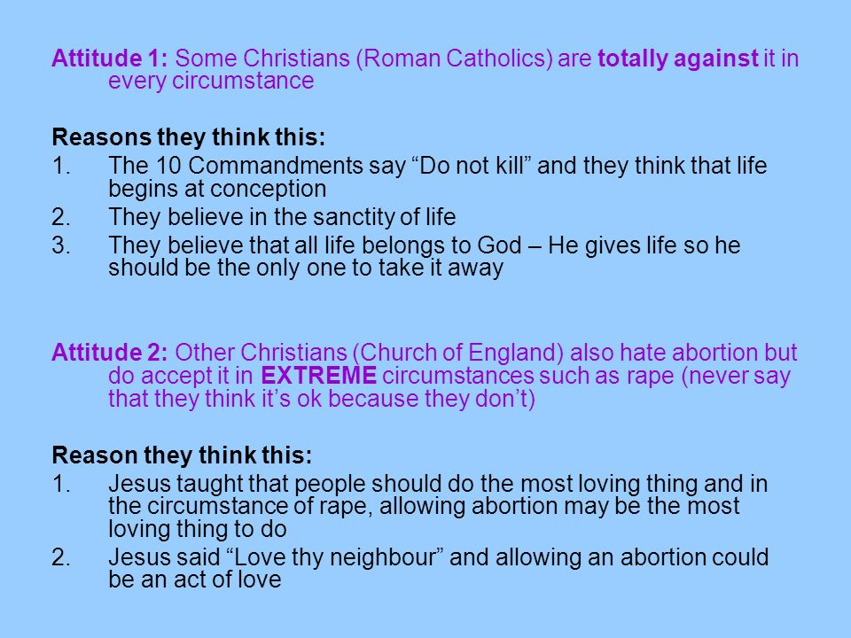 Attitude 1: Some Christians (Roman Catholics) are totally against it in every circumstance