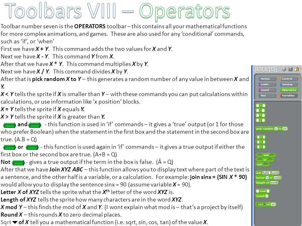 Toolbars VIII – Operators